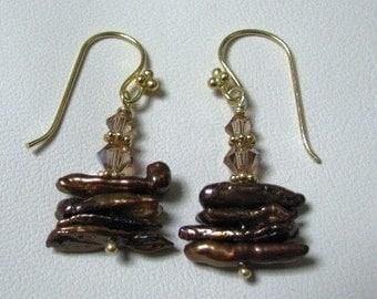 Chocolate Stick Pearl Earrings