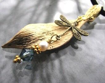 Dragonfly Leaf Necklace