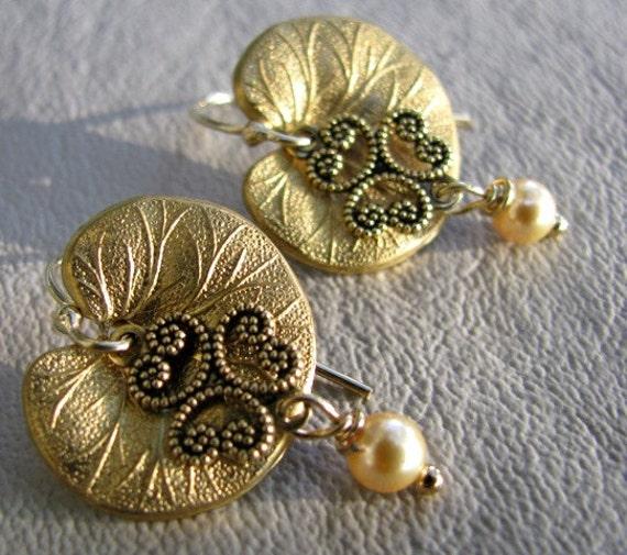 Golden lotus leaf earrings
