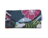Tri Fold Wallet in Robert Kaufman's Hot Couturier, Bugs and Butterfly Jungle - Blue