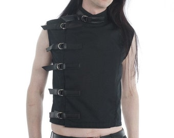 Men's Black Buckle Top Supernal clothing Menswear goth gothic cyber fetish clubwear industrial punk sci-fi fantasy costume alternative