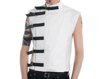 White Buckle Top Supernal clothing goth gothic menswear cyber fetish clubwear industrial sci-fi fantasy costume steampunk