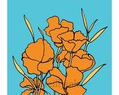 Orange Wildflower Print