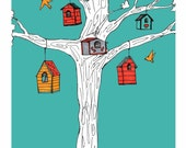 Birdhouse Print-Our Little Neighborhood