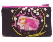 Sleeping Beauty in Plum Zipper Pouch