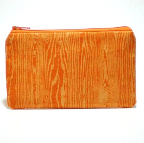 Orange Woodgrain Zipper Pouch