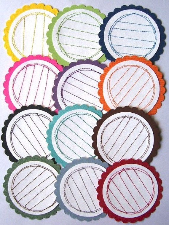Sewn Scallopped LINED Journal Tags CHOSE YOUR COLORS - set of 4