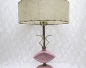 1950s Pink Atomic Lamp - White Speckled - Mid Century Lighting