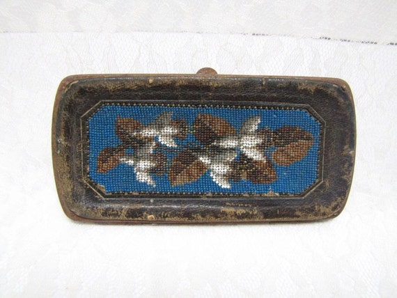 Victorian Calling Card Holder - Beaded Flowers and Leather - 1890s