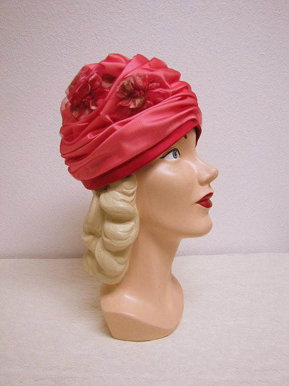 1940's Pink Turban with Millinery Flowers - Modern Miss