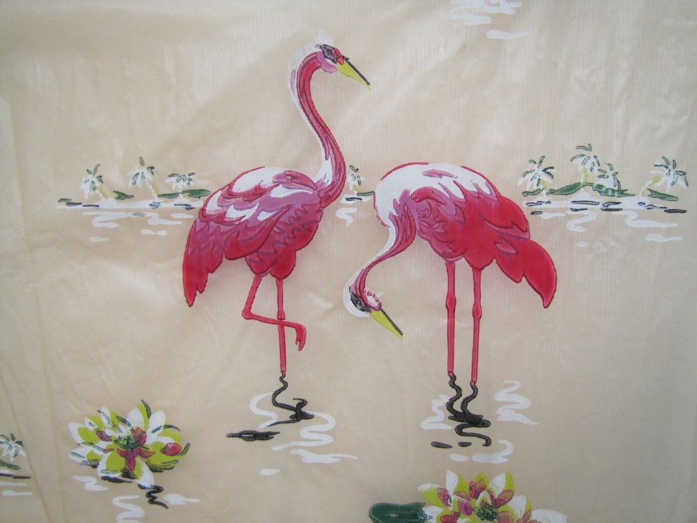 reserved 1950s pink flamingo shower curtain