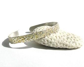 Leopard Print Cuff Bracelet With Gold Detail