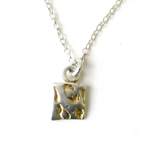 Square Leopard Print Pendant with gold detail