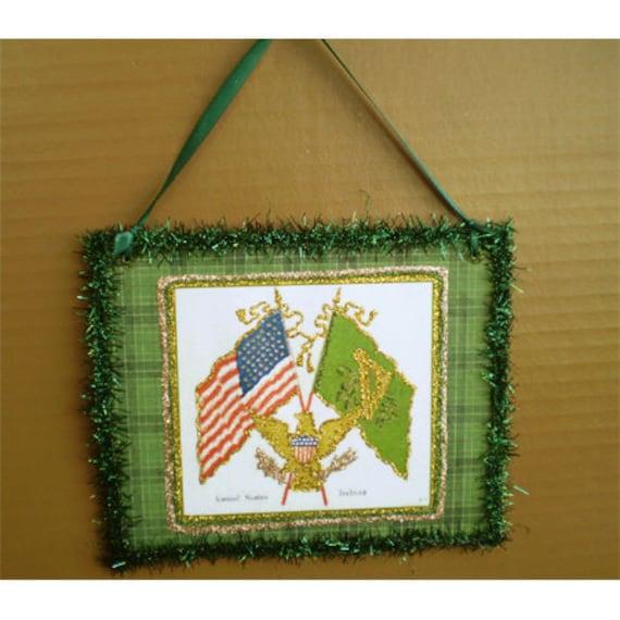 St Patricks Day American Irish flags St Patty decoupage Wall Plaque home decor