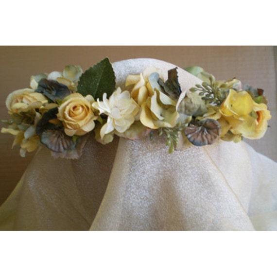Spring equinox Easter Shabby chic Blue Faerie Fairy wedding Head Wreath