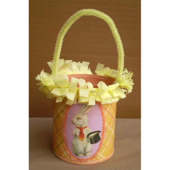 Easter rabbit bunny decoration recycled tin treat basket pail Spring home decor Ostara
