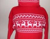 Handmade Nordic Reindeer Pullover Cotton Rollcrew child sweater w/ hat set