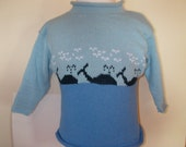 Maine handloomed whale cotton child pullover rollcrew sweater