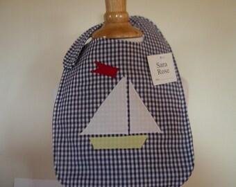 Maine nautical sailboat ocean seashore baby bib gingham