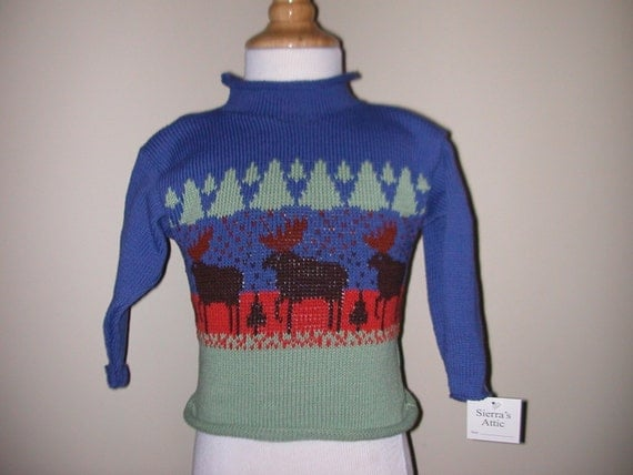 Maine made cotton pullover child rollneck northwoods moose sweater Size 2