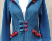Red Ponpoms -  Fleece Hoodie Jacket