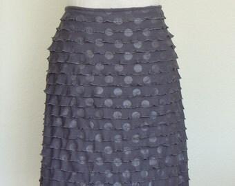 Elegant Woman Skirt Silver Gray Polka Dot, Ruffled