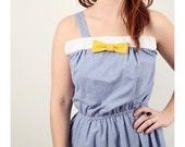 Vintage Light blue Polka Dot DRESS Bow Party Retro Yellow