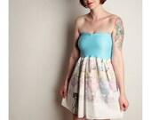 MISS PIGGY Vintage Baby Doll Dress MUPPETS Umbrella Pastel Strapless Bow