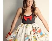 Disney Mickey Mouse Music BAND Tank Dress Black Red BOW Handmade