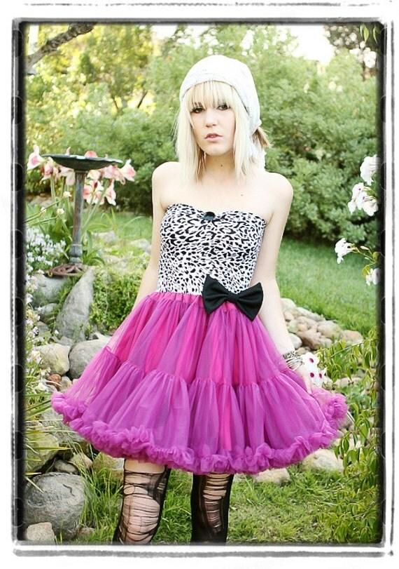 Diy HANDMADE Fuschia Pink TUTU Ballerina DRESS Black White ANIMAL PRINT  Bow Halloween Costume