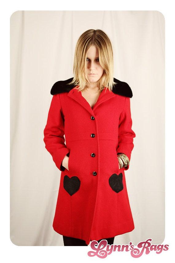 Vintage Red Black Coat HEART Jacket Retro Lolita