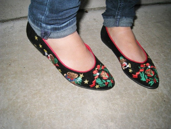 Christmas BEAR Shoes Flats Black velvet Holiday Ugly Party 7.5