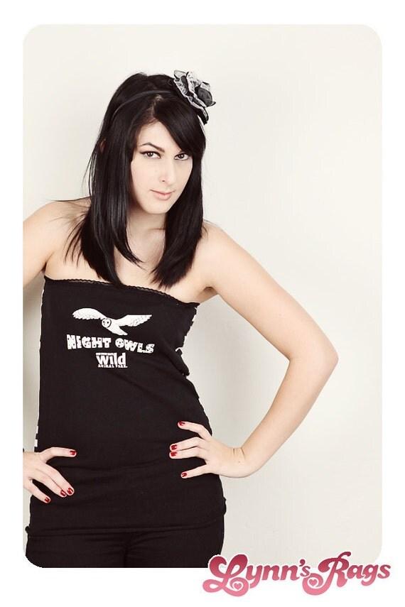 Night Owl Black White Tube Top Handmade Shirt Strapless Stripe Zoo