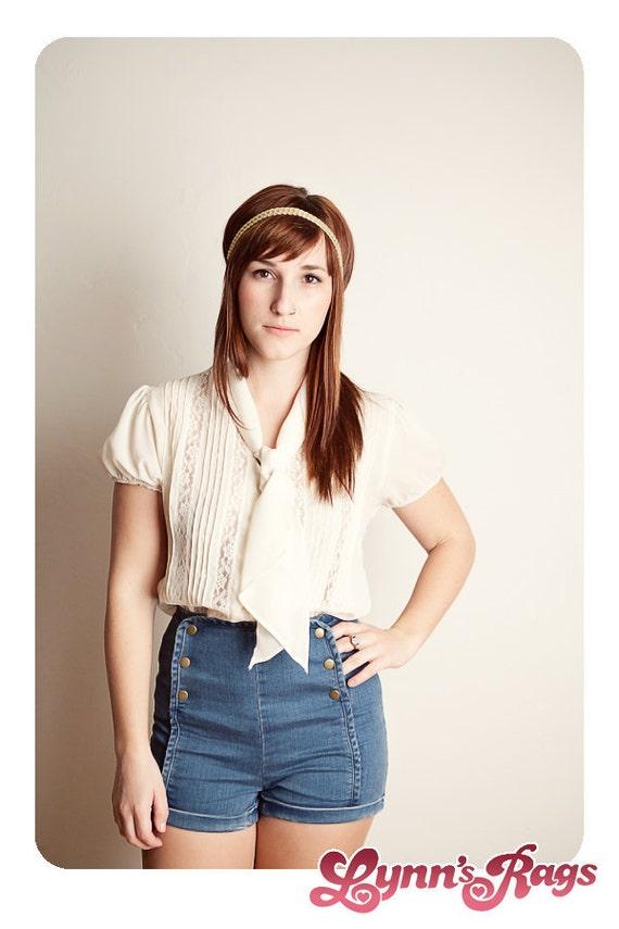 Vintage Cream Lace Blouse BOHO Hippie Shirt