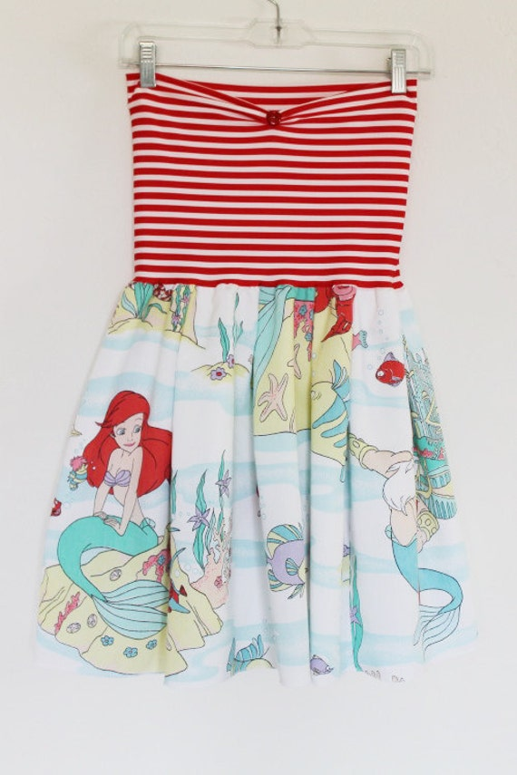 Vintage The LITTLE MERMAID Disney Party Dress Bow Handmade Small