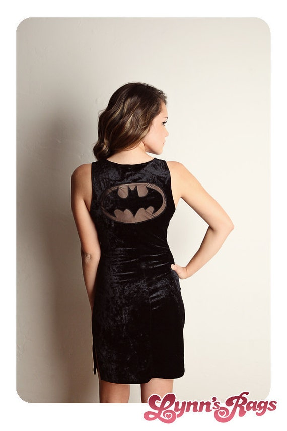 Vintage BATMAN Black Mini Dress Velvet Netting Punk Tank Sexy Comic