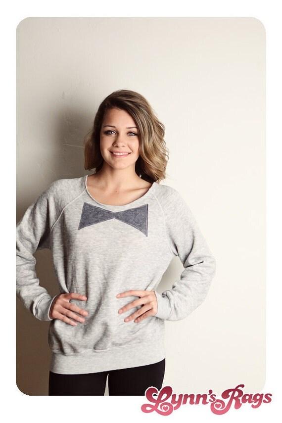 Vintage Gray BOW TIE Sweatshirt Reconstructed 80s Shirt