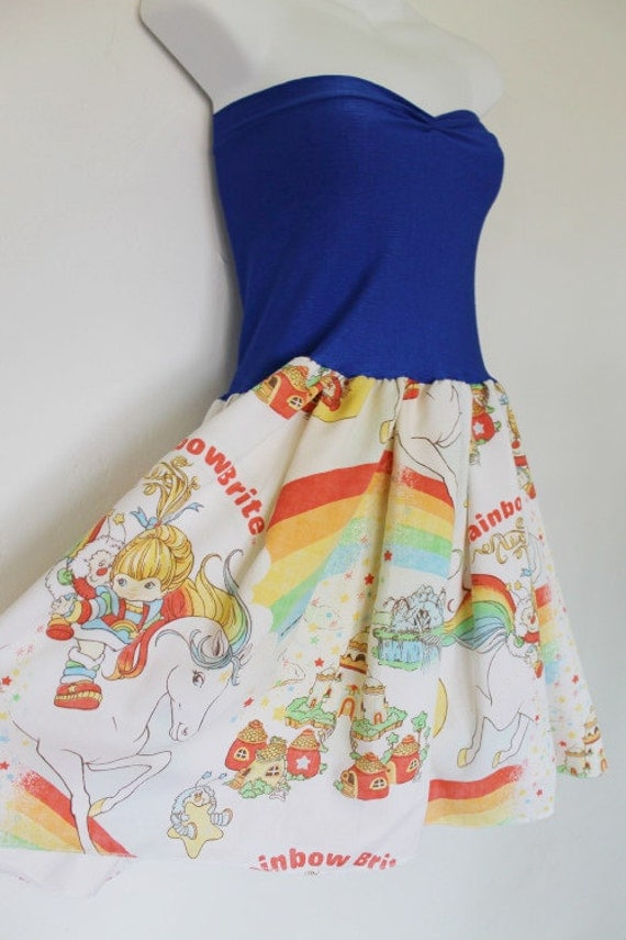 RAINBOW BRITE Vintage 80s Baby Doll Dress BOW Handmade