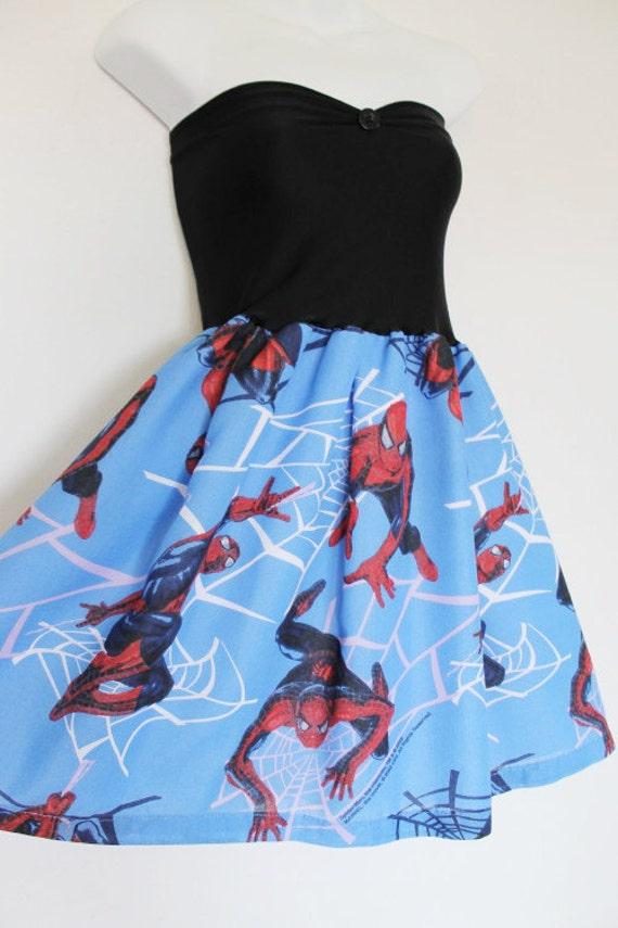 SPIDERMAN Baby Doll Dress Red Blue Super Hero Marvel COMIC Handmade Bow
