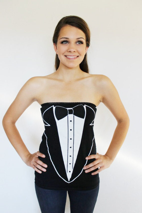 Black and White TUXEDO Tube Top HANDMADE Shirt Reconstruction Bow Tie