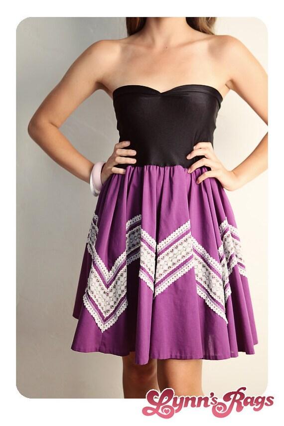 Purple Lace Black Bbay Doll DRESS Bow Handmade Reconstruction