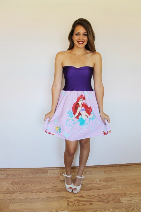 Vintage The LITTLE MERMAID Disney Party Dress Handmade Ariel Bow Lavender