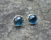Faceted London Blue Topaz Sterling Silver Stud Earrings