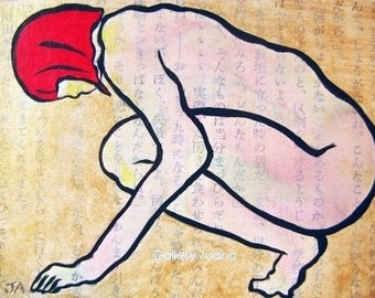 Nymph III, Nude Ink Figure Painting, small art work, collage, ACEO by Gallery Juana