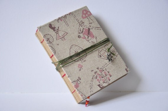 Coptic Stitch Handmade Journal with Cord Closure and Bookmark - Alice in Wonderland