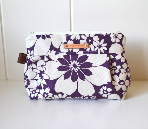 Makeup Bag in Fresh Flowers with Wipeable Lining - Made to Order