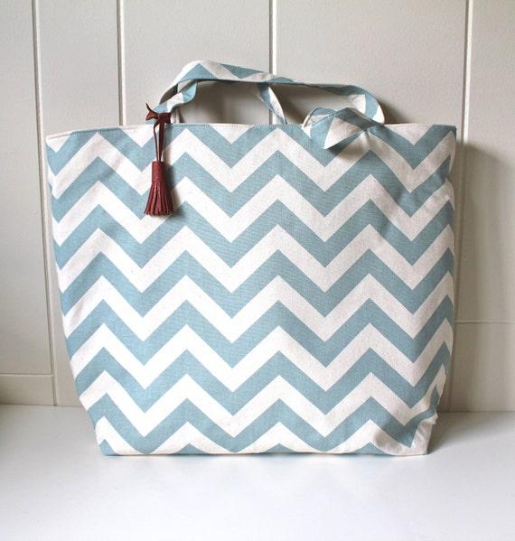 Beach Bag in Chevron Stripes Aqua with wipeable waterproof