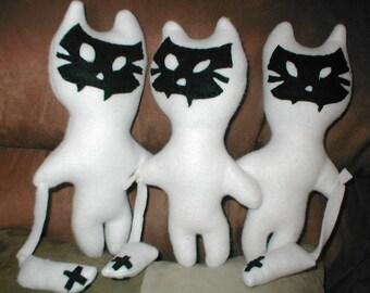 Ghost Dead White Kitty stuffed Handmade Halloween toy