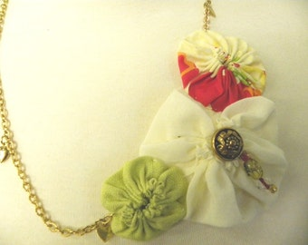 Yo Yo Fabric Necklace Recycled upcycled gold tone Chain Yellow Green spring