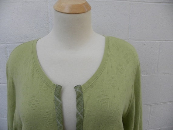Green Apple Knit Cotton Linen Sweater 1X 2X  recycled clothing Plus size